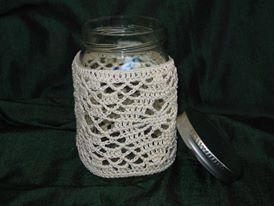 crocheted mason jar cover by tatisaccessories on etsy gl ser umh kelt f r teelichter. Black Bedroom Furniture Sets. Home Design Ideas