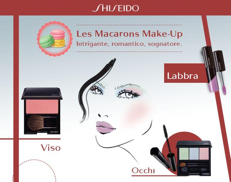 Colori pastello che ricordano deliziosi macarons, ciglia intense e gloss violet sulle labbra per un dolce effetto baby! #makeup www.shiseido.it