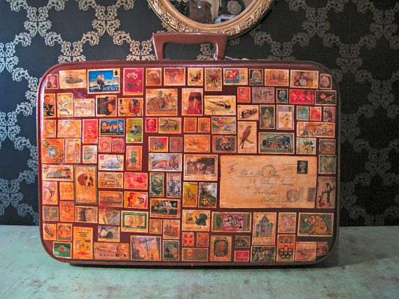Stamps from all over the world on a suitcase. If this was yours, where would your stamps come from?