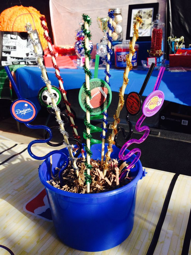 Crazy straw centerpiece with wooden kabob sticks and pipe