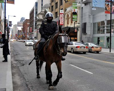 Toronto Mounted Police - note the knee protection.