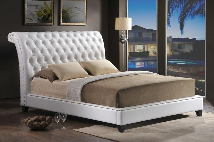 Baxton Studio Jazmin Tufted White Bed with Upholstered Headboard – King Size - White