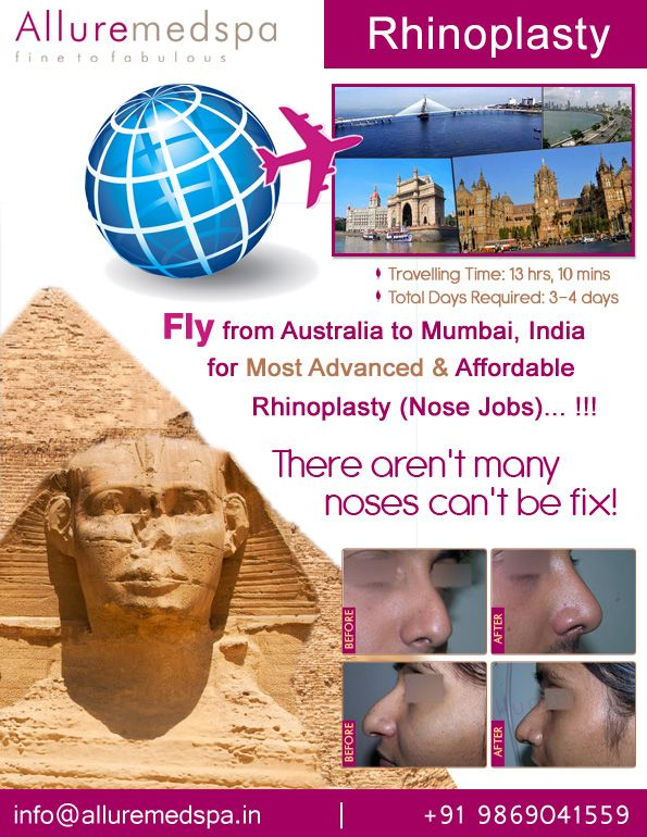 Rhinoplasty is procedure to reshape your nose. It can absolutely change the face, confidence and enhance your beauty by Celebrity Rhinoplasty surgeon Dr. Milan Doshi. Fly to India for rhinoplasty surgery (also known as nose reshaping, nose job) at affordable price/cost compare to Sydney, Melbourne, Brisbane,AUSTRALIA at Alluremedspa, Mumbai, India.   For more info- http://www.Alluremedspa-australia.com/cosmetic-surgery/face-surgery/rhinoplasty.html