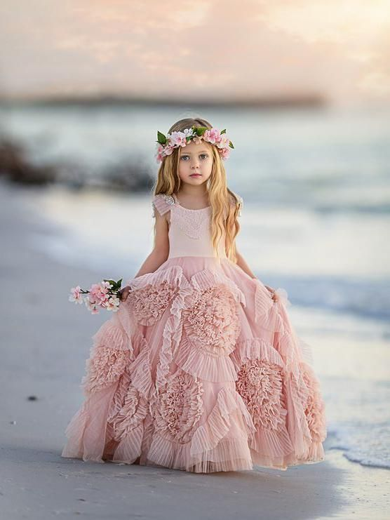 06fb7fe2346 Floor length little flower girl dresses. Beaded flower pink cute flower  girl dresses.