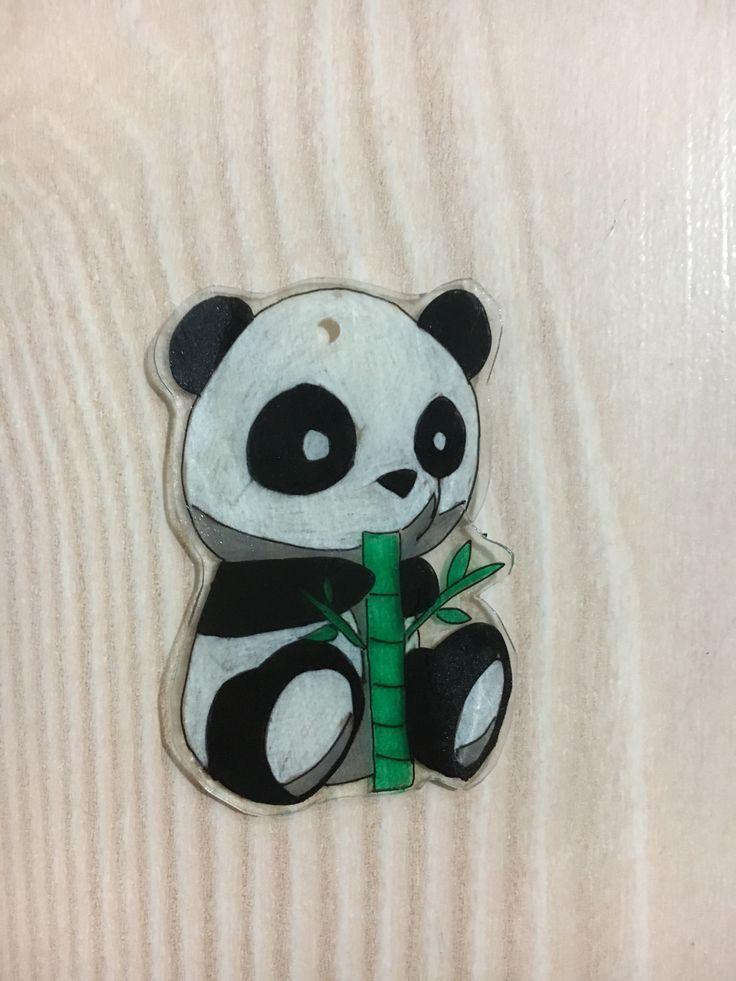DIY panda keyholder with shrinking paper