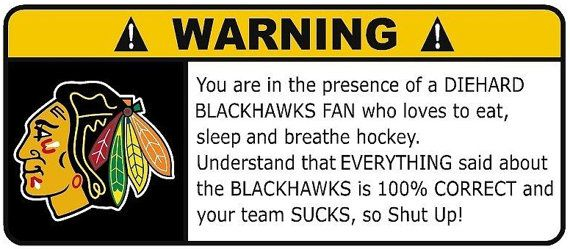 Chicago Blackhawks Fan NHL Warning Decal all teams by PhoenixSigns