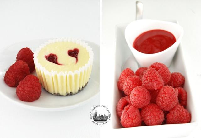 Mini cheesecakes con cuori di lampone