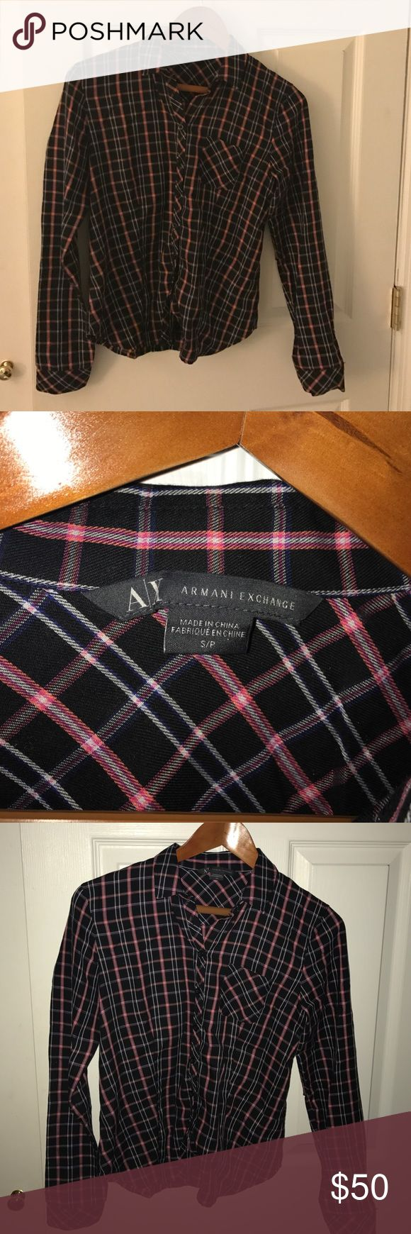 Armani exchange black and pink stripped button up Authentic Armani exchange button up black pink and white plays shirt. Size small. Like new condition! A/X Armani Exchange Tops Button Down Shirts