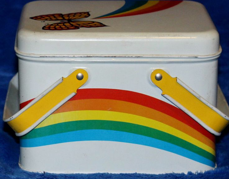 Vintage Rainbow Butterfly Metal Bread Lunch Box Picnic Basket Unique Retro Chic