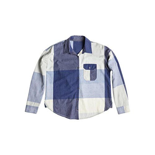 Roxy Junior's Breezy Traditional Woven Plaid Shirt, Light Denim Oversize Check Plaid, Small. Front left pocket with novelty patterns. Roxy spring 2015.