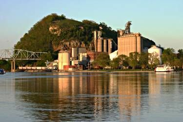 Places to see in Minnesota before you die: Barn Bluff frames Red Wing on the Mississippi.