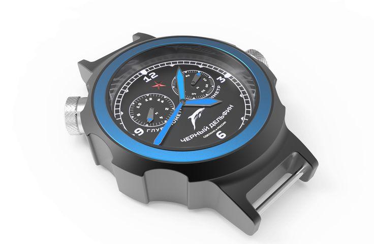 """Эскизный проект дизайнерских наручных часов """"Черный Дельфин"""" #3D #дизайн #часы #проект #закзатьмодель #эксклюзив #производство"""