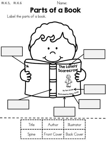 Parts of a Book >> Cut and paste the labels >> Part of the Autumn Kindergarten Language Arts Worksheets Packet