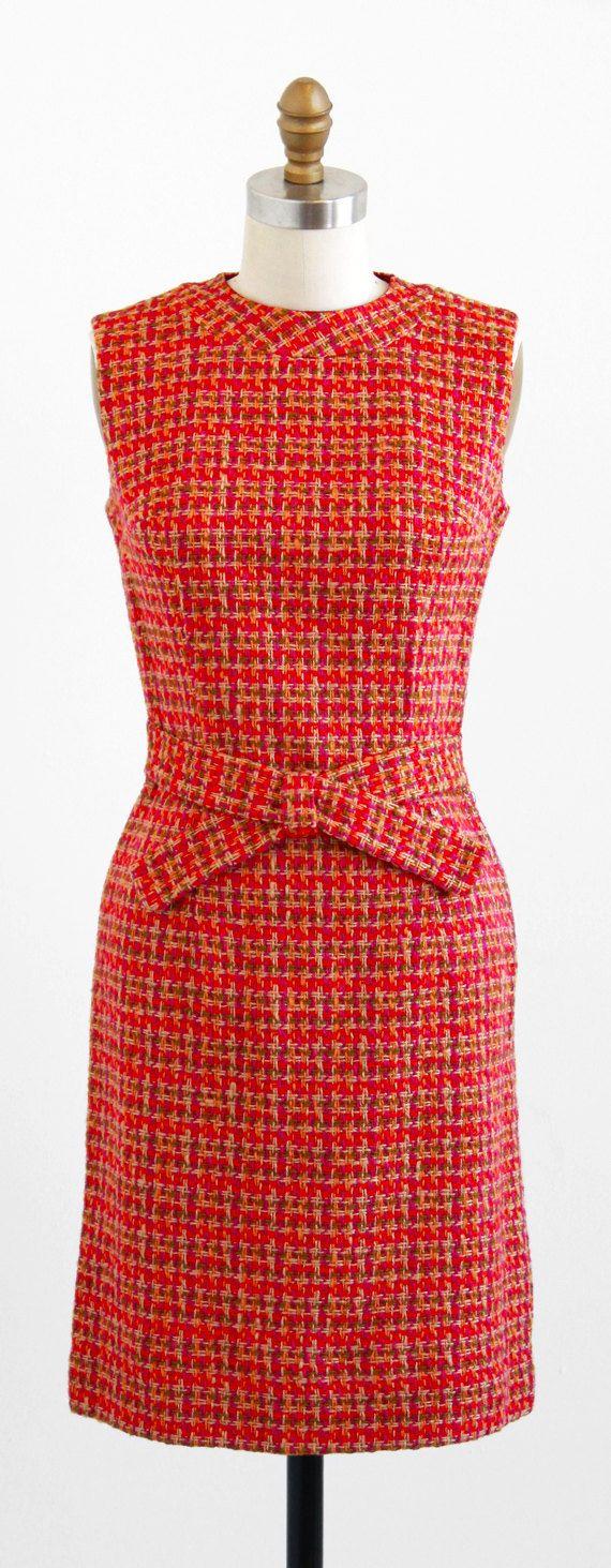 vintage 1960s orange + pink tweed mod shift dress | Mad Men style | http://www.rococovintage.com