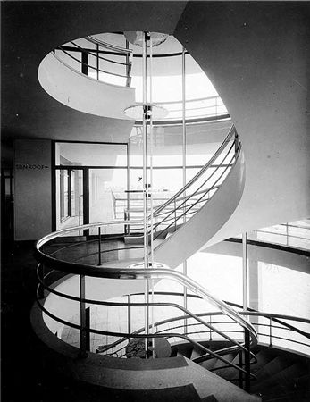 An interior view of the helix staircase at the De La Warr Pavilion in Bexhill-on-Sea. The building was designed by Erich Mendelssohn and Serge Chermayeff and funded by the mayor of Bexhill, Earl De La Warr. It opened in December 1935.