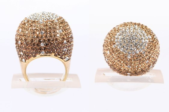 Crystal Ball Ring Gold Bronze