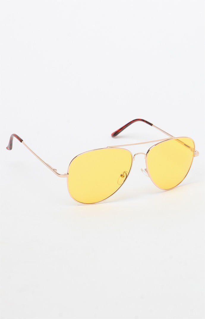 4929306da107 Pin by Spot POP Fashion on Trinity Sky - Indie, Grunge, Goddess | Yellow  lens sunglasses, Sunglasses, Gold aviator sunglasses