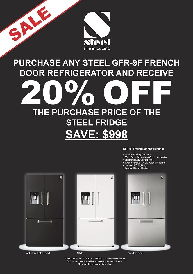 STEEL - 20% OFF our GENESI Fridges in Anthracite, White or Stainless Steel    Purchase any one of our three STEEL Cucine Fridges and receive 20% OFF*  Offer for orders placed between 15th December 2016 and 28th February 2017.
