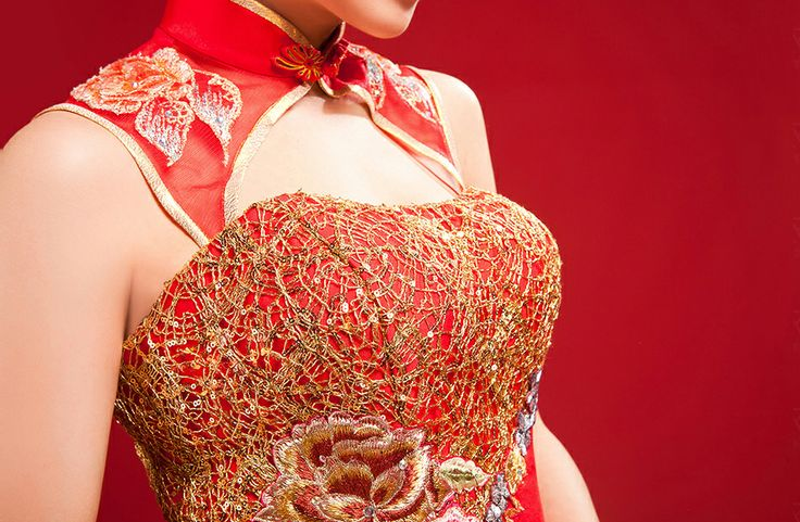 Mandarin collar cheongsam inspired golden thread embroidery