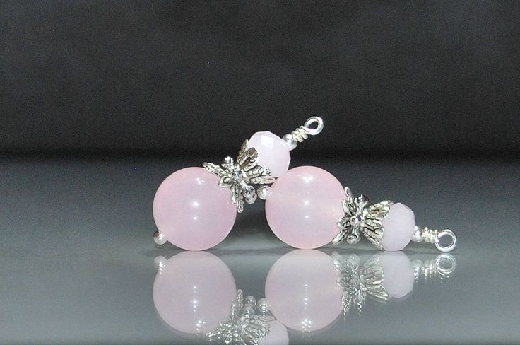 2 Pink Agate Bead Dangles or Earrings-Handmade Bead Dangles 10mm Pale Pink Agate Gemstone Beads by goldcountrydangles on Etsy