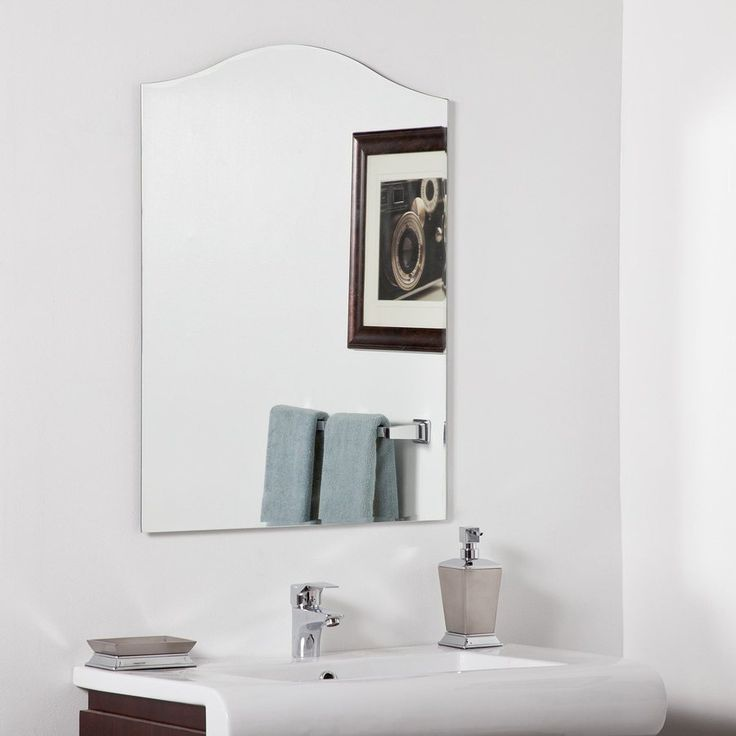 $98 lowes online Shop Decor Wonderland Allison 23.6-in W x 31.5-in H Arch Frameless Bathroom Mirror with Hardware and Beveled Edges at Lowes.com
