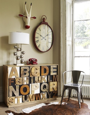 New Vintage industrial Shabby Chic Mango Sheesham Wood Alphabet Chest - I like it but not sure I'd actually buy it!