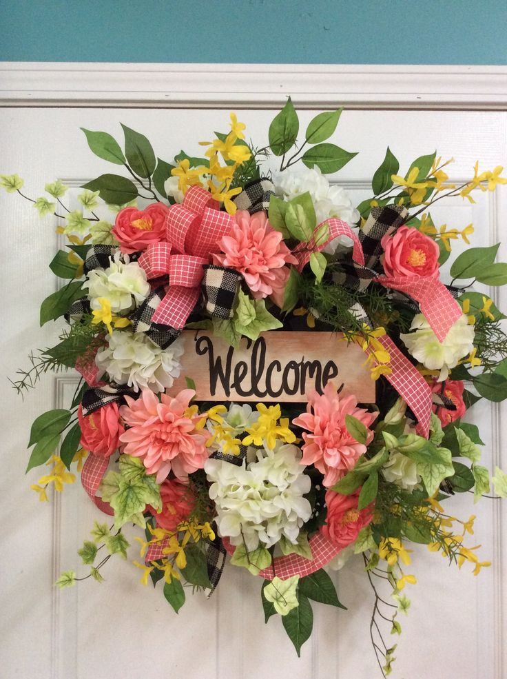 Summer door wreath with corals, front porch wreath, coral colored wreath, summer wreaths, door wreath with welcome,front door wreath summer by TammysCreatedDesigns on Etsy