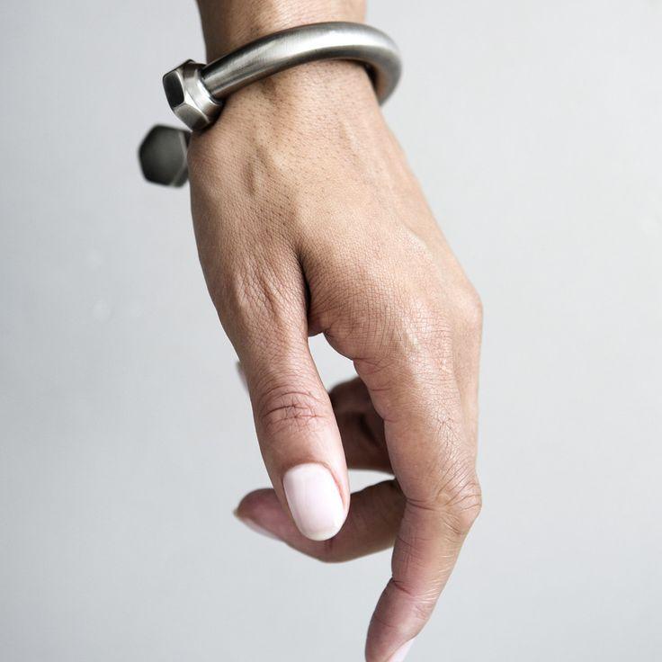 Oversized bolt bracelet.