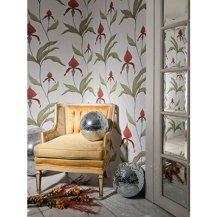 Buy Cole & Son Orchid Wallpaper, Bronze on Slate, 95/10056 Online at johnlewis.com