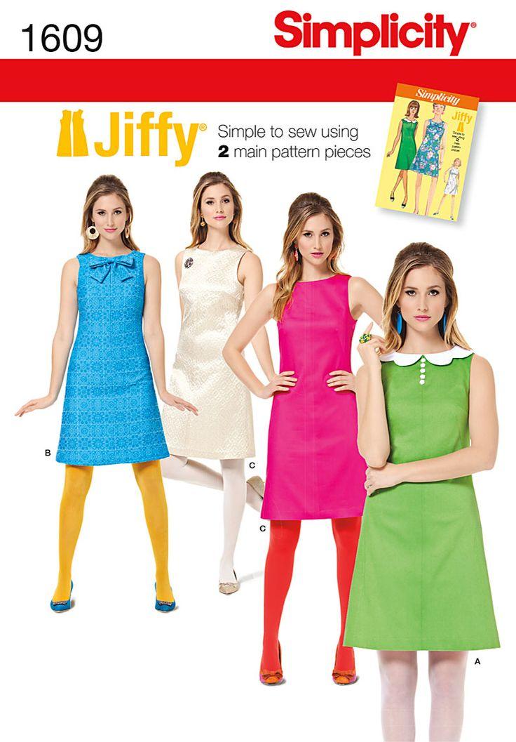 Simplicity Creative Group - Misses' Jiffy 1960's Vintage Dress - 1609