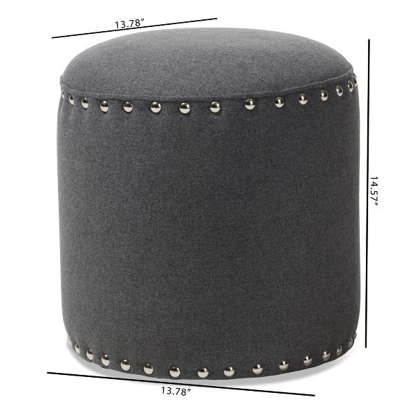 Rosine Modern And Contemporary Fabric Upholstered Nail Trim Ottoman Baxton Studio In 2020 Contemporary Fabric Fabric Ottoman Trim Nails