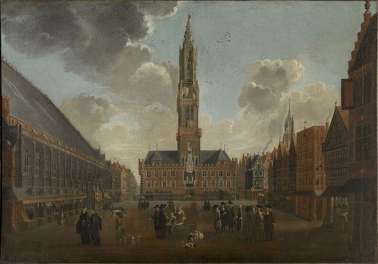 De Markt in Brugge   Jan Baptist van Meunincxhove   1620 - Brugge 1704 Het schilderij stelt de Markt in Brugge voor in de tweede helft van de zeventiende eeuw. In het midden herkent men de Halle met het Belfort, links de verdwenen Waterhalle met de winkeltjes die er tegen aanleunden. Van de huizen die op het schilderij voorkomen is alleen het huis Bouchoute bewaard gebleven. In de verte rechts bemerkt men de toren van de Onze-Lieve-Vrouwekerk. Rechts bovenaan is het wapenschild van Guillaume…