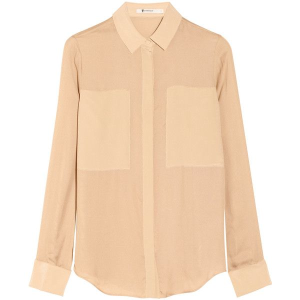 T by Alexander Wang Paneled silk crepe de chine and mesh shirt ($78) ❤ liked on Polyvore featuring tops, shirts, blouses, camisas, neutral, beige top, silk shirt, t by alexander wang, mesh shirt and cut loose shirt