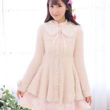 Princesa lolita doce Flor casaco UncleLong cardigan Lindo vestido de cintura alta casaco de lã de malha de fios de penas UF81(China (Mainland))