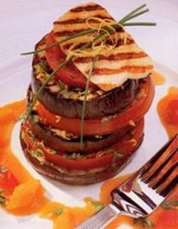 Griddled aubergine stack.
