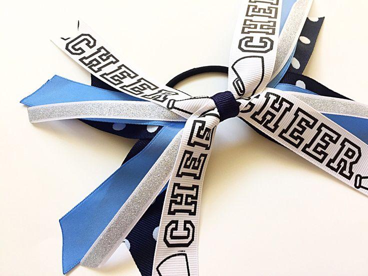 Custom Team Colors Navy Blue and Light Blue Cheer Hair Bow, Cheerleading Hair Ties, Cheerleading Ribbons, Blue Cheer Bow by SunshineandBling on Etsy