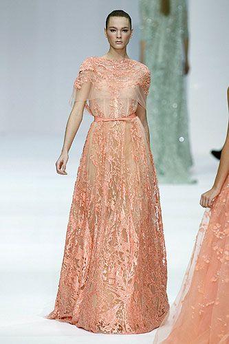 peach gown by Elie Saab