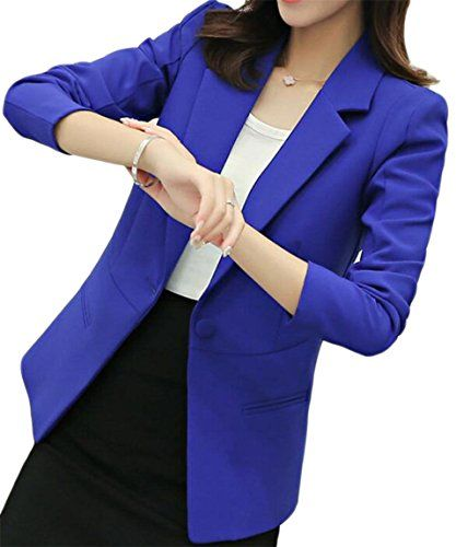 ZXFHZS Women Slim Fitted One Button Notched Lapel Pure Color Outerwear  Blazer 5635262e86