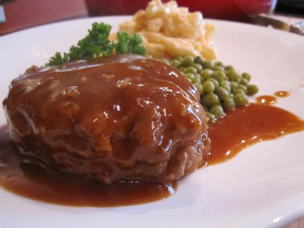 My husband loves love loves Salisbury Steak. I never made it until after we married and I've had lots of recipes and practice. This is one of the best Salisbury Steak recipes I've come upon.  I used locally grown 80/20 ground round/sirloin for a truly great texture and firmness but juicy Steak. Served with mashed potatoes and peas and a salad with biscuits or rolls. Or just mashed potatoes and sliced white bread and gravy! True comfort food.