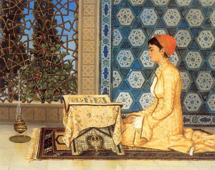 """[Ottoman Empire] An Ottoman Woman Reading Quran """"Osman Hamdi Bey"""" (Bir Osmanlı Kadını Kuran Okuyor)"""