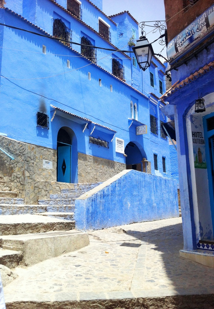 Electric blue building in Chefchaouen Morocco. The color makes the architecture and building exterior even more interesting! Photo by my sister DS! http://cococozy.com