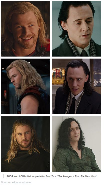 Thor and Loki's hair evolution. Seriously!! Are there no scissors on Asgard?!?!?!?!<<< hahahah!