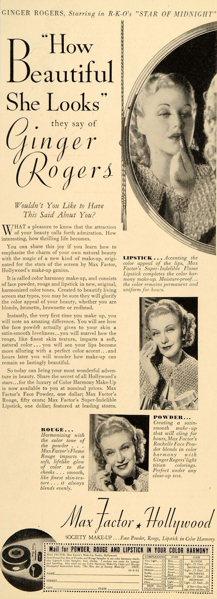 1935 Ad Max Factor Make-Up Studios Rouge Ginger Rogers Beauty Hollywood DL2