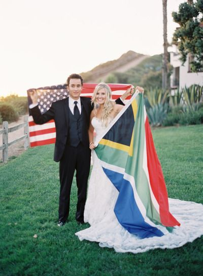 international couple = international wedding or mission flags :)