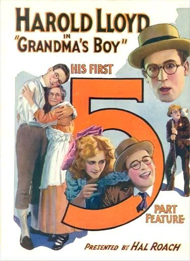 "Harold Lloyd: Poster for ""Grandma's Boy"" (1922). The large figure 5 promotes the movie as a Five Part Feature, meaning that it ran five reels or about an hour. Graphically, it bears an interesting resemblance to Charles Demuth's ""I Saw the Figure 5 in Gold,"" which was painted six years later! Was a Harold Lloyd movie poster percolating in Demuth's head when he envisioned the images of William Carlos Williams' poem? [pr] ©"
