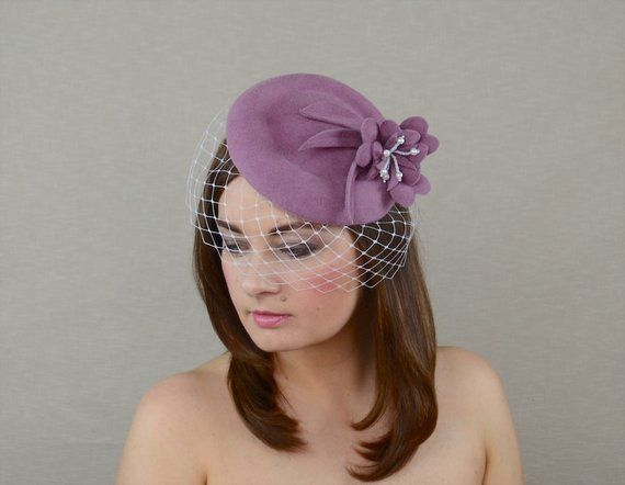 9ead9745023cb Dusty Rose Pillbox Hat with Birdcage Veil - Pink Fascinator - 50s ...