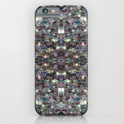 Sparkly colourful silver mosaic mandala iPhone 6 case by #PLdesign #SilverSparkles #SilverMosaic #SparklesCase