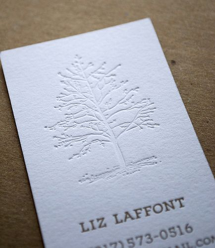 Blind impression letterpress business card with winter tree