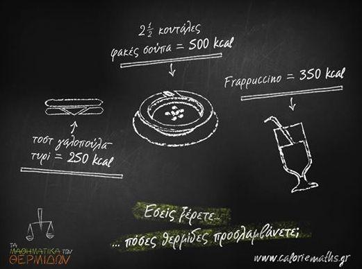 Ξέρατε ότι ένα φραπουτσίνο έχει περισσότερες θερμίδες από ένα τοστ; http://ow.ly/qv1IQ
