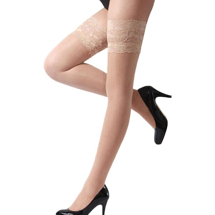Women\'s Sexy Lace Top Silicone Band Stay Up Thigh High Stockings Pantyhose